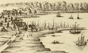 Aarhus havn i 1700-tallet. Udsnit fra prospekt af Pontoppidan. Bemærk, at havnen på tidspunktet stadig er en åhavn.