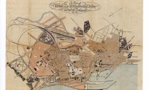 Ambts og Kampmanns byplan fra 1898 for bebyggelsen af Marselisborgs jorder mod syd (t.v.) og anlæggelsen af en Ringgade rundt om Aarhus mod vest (øverst t.v.).