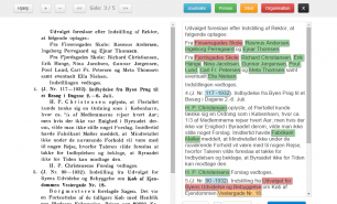 Skærmbillede af værktøjet til digitaliseringsarbejdet – her korrekturlæsning og opmærkning.