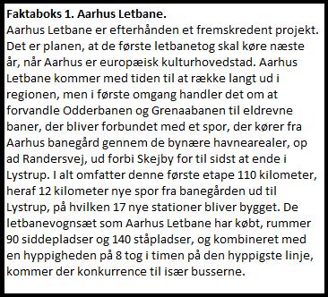Faktaboks 1. Aarhus Letbane.
